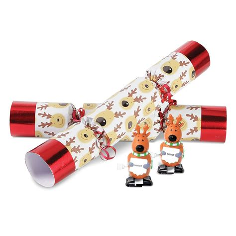 the christmas reindeer racing crackers hammacher schlemmer