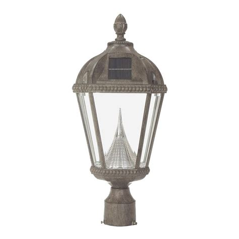 Outdoor Solar L Post Mounted Lighting Gama Sonic Royal Solar Weathered Bronze Outdoor Post Light On 3 In Fitter Mount Gs 98f Wb The