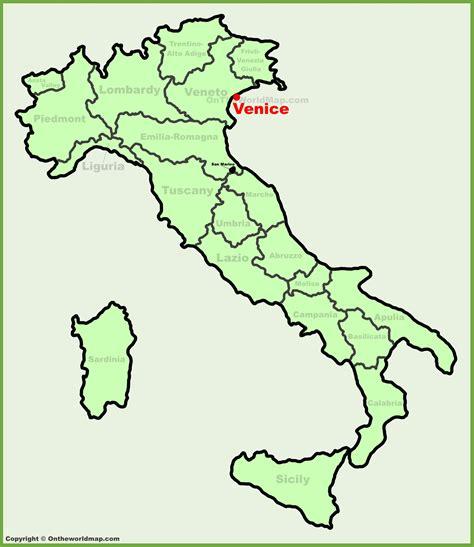 venice italy map venice location on the italy map