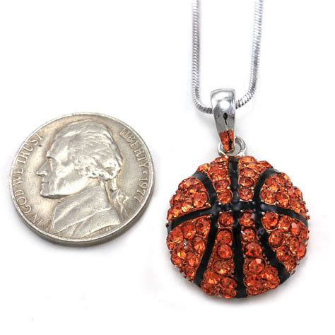 sports for jewelry baseball pendant necklace silver tone clear rhinestone