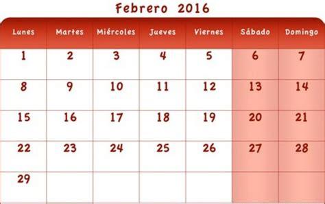 Calendario Febrero 2016 Calendario Febrero 2016 Excel
