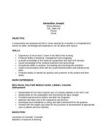 free nicu resume template sle ms word