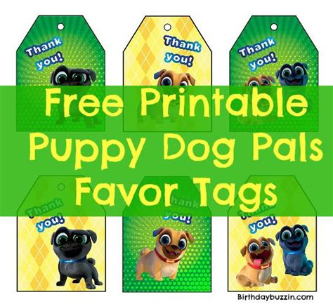 puppy pals birthday supplies free printable puppy pals favor tags birthday buzzin