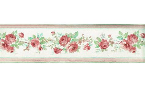 Jw Wallborder Pink Green Background pink floral roses wallpaper border
