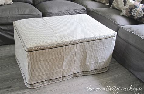 How To Make An Ottoman Slipcover My Dish Towel Ottoman Slipcover Office Craft Room Update
