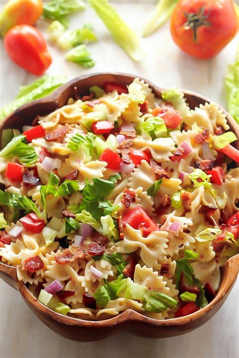 easy pasta salad 20 minute blt easy pasta salad baker by nature