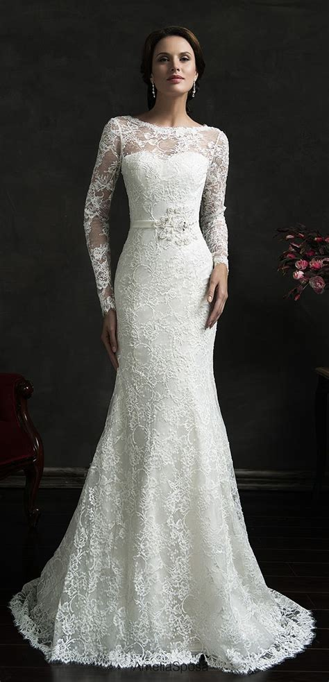 long sleeve full mermaid wedding dress from www