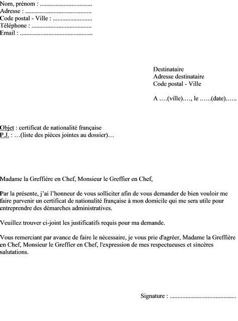 Modele De Lettre Pour Une Demande De Certificat D Urbanisme mod 232 le de lettre demande de certificat de nationalit 233
