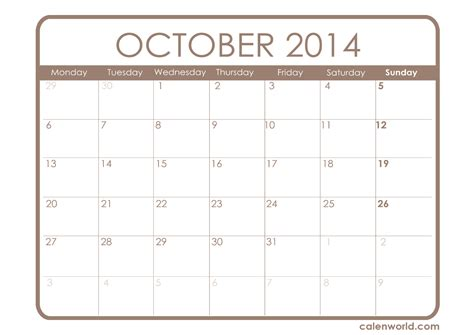 october 2014 calendar template printable october calendar calendars