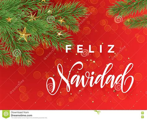 spanish merry christmas feliz navidad greeting card decoration red background stock illustration