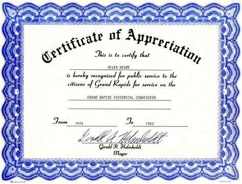 free template for certificate of appreciation appreciation certificate templates free