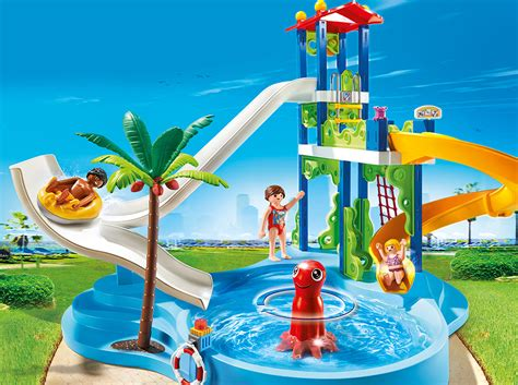 park with water playmobil set 6669 water park with slide tower klickypedia