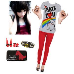 red emo polyvore