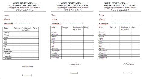 mki contoh kartu infak syahriyah madrasah
