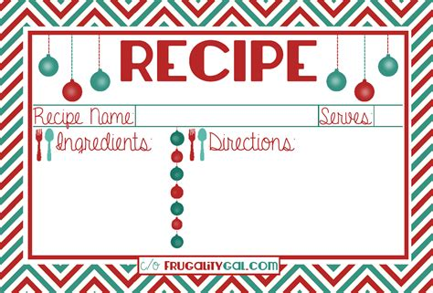 printable christmas recipe cards 8 best images of free editable printable recipe cards