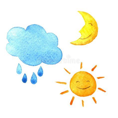 sol y la luna nubes estrellas vector de stock 169 son sistema de la acuarela del tiempo de iconos sol luna