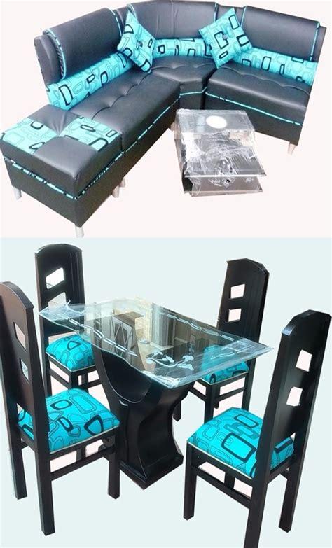 juego de sala comedor de  puestos en madera  cuerotex