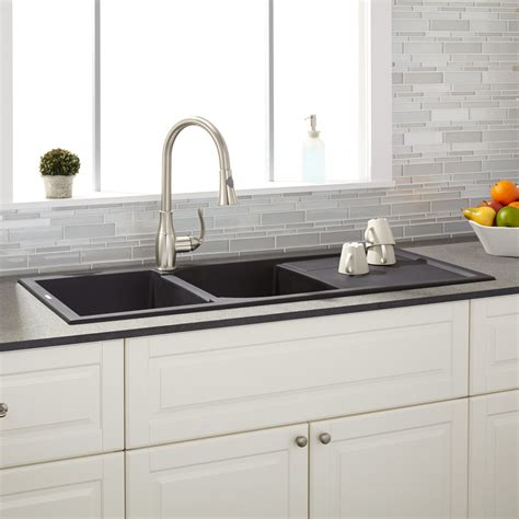 two sinks one drain 46 quot tansi double bowl drop in with drain board