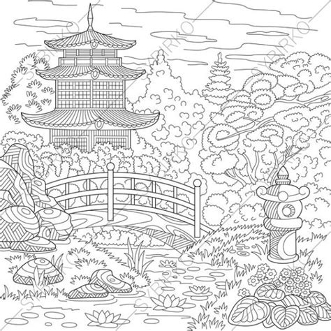 japanese garden coloring page chinese pagoda japanese garden coloring pages coloring book