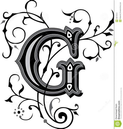 lettere gotiche decorate ornamento bonito letra g fotografia de stock imagem