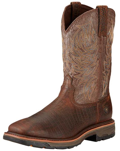 mens square toe work boots s ariat 11 quot workhog square toe work boots croc print