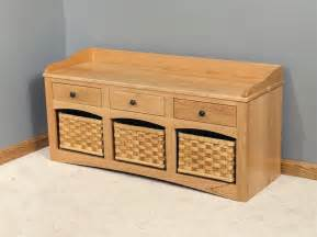 Storage Bench With Baskets Amish Small Storage Bench With Baskets And Drawers