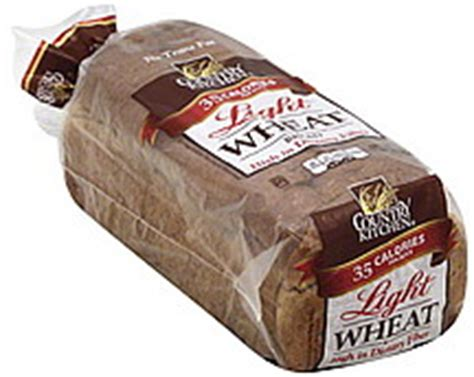 country kitchen bread light wheat 16 0 oz nutrition - Country Bread Kitchen