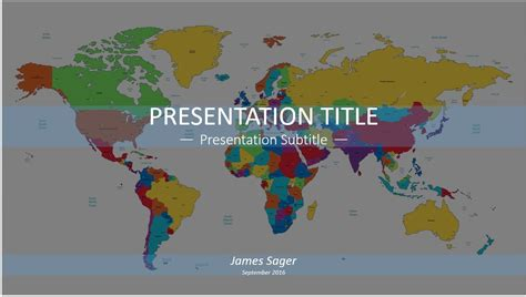 Free Colorful World Map Powerpoint 12254 Sagefox Powerpoint World Map
