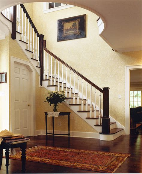 Stairs Without Banister Colonial Face For A Sideways Ranch Traditional