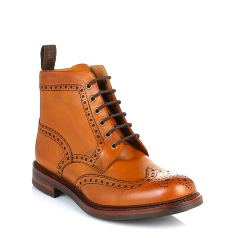 mens brown leather brogue boots loake mens brown bedale leather brogue ankle boots