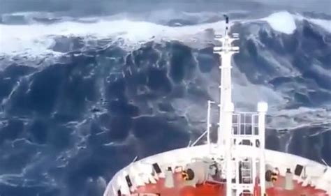 fishing boat in storm video ship slammed by monster waves in violent mega storm at sea