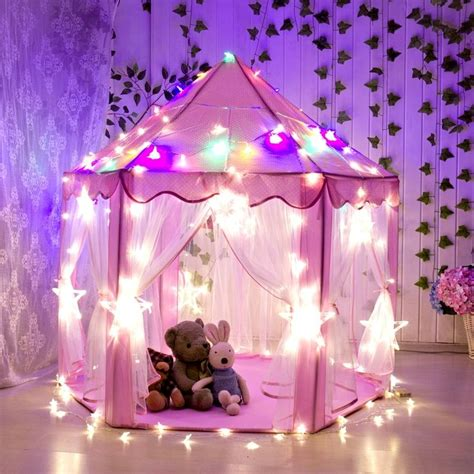 kids tent with lights pink princess castle play house children outdoor kids play