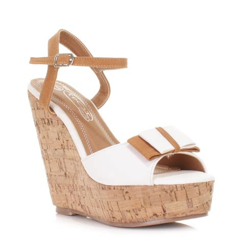 high cork wedge sandals womens high heel cork wedge strappy two tone sandals