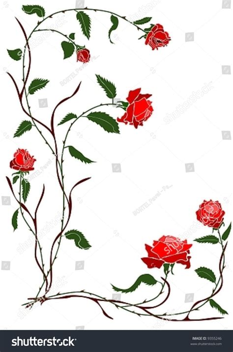 vector branch red rose vine stock vector 9355246