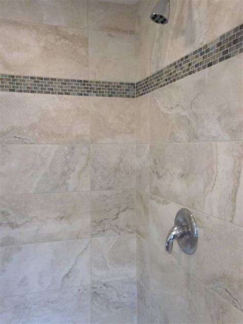 glass tile accents in bathroom shower enclosure w glass accent contemporary bathroom