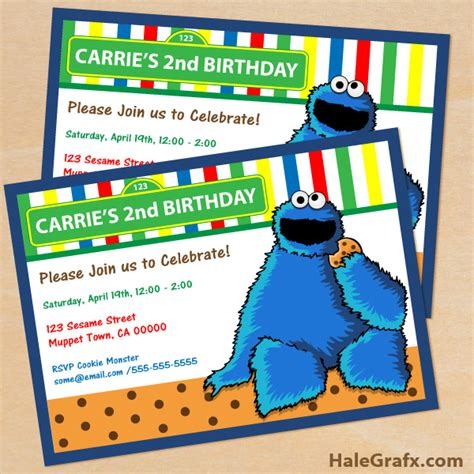 Free Printable Cookie Monster Birthday Invitation Cookie Invitations Templates