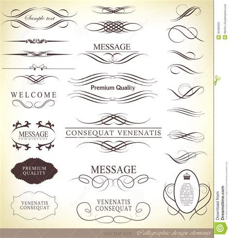 page design elements vector calligraphic design elements stock image image 35489305