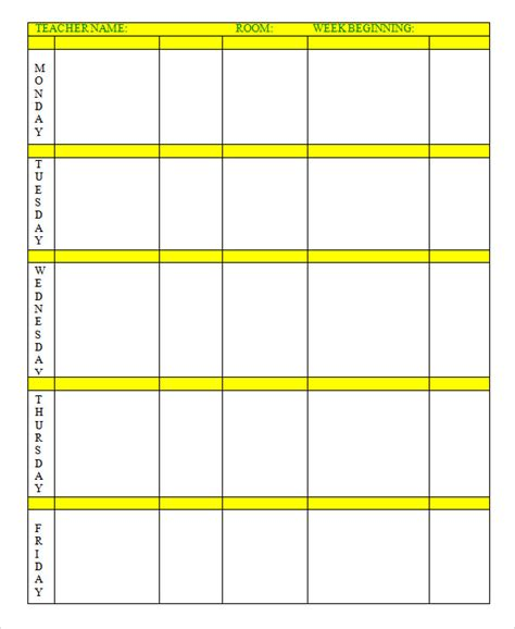 printable weekly lesson plan template sle elementary lesson plan template sle blank