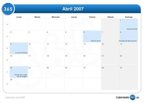 Calendario Abril 2007 Calendario Abril 2007