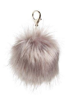 Grey Furball Bag Charm fuzz faux fur keychain liked on polyvore featuring
