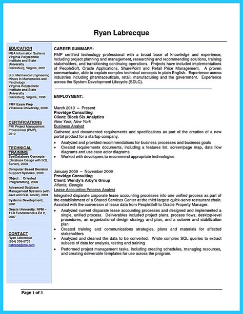 business analyst resume format create your astonishing business analyst resume and gain