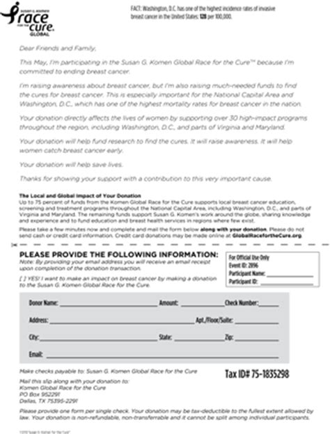 Komen Fundraising Letter Susan G Komen Washington D C Race For The Cure Fundraising Resources