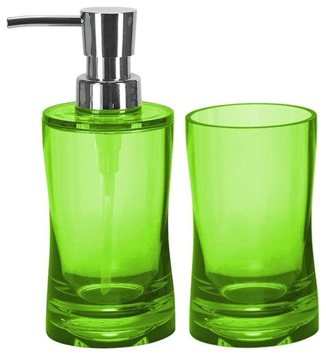 modern bathroom 2 accessory set green