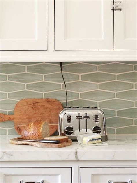 wide hex tile used as a kitchen backsplash subway tile
