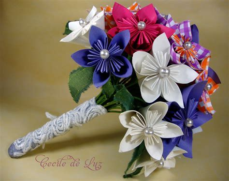 How To Make Origami Bouquet - origami 1 bouquet cecile de luz flores e arte em