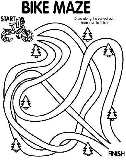 Bike Maze Coloring Page Crayola Com Bike Safety Coloring Pages