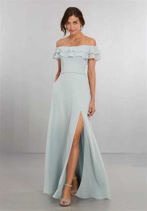 Chiffon Bridesmaid Dress by Chiffon Bridesmaids Dress With The Shoulder Flounced