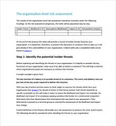 Risk Assessment Security Survey Template by Security Risk Assessment 9 Free Documents In