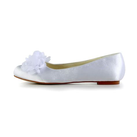 Hochzeitsschuhe Satin by S Satin Flat Heel Closed Toe Flats White