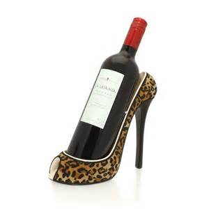wine holder leopard print stiletto shoe wine bottle holder from